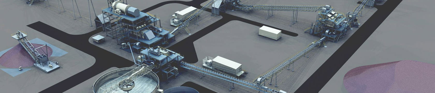aerial view of mineral processing infrastructure