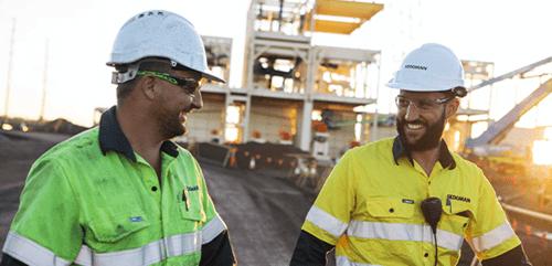 Minerals processing engineers talking.
