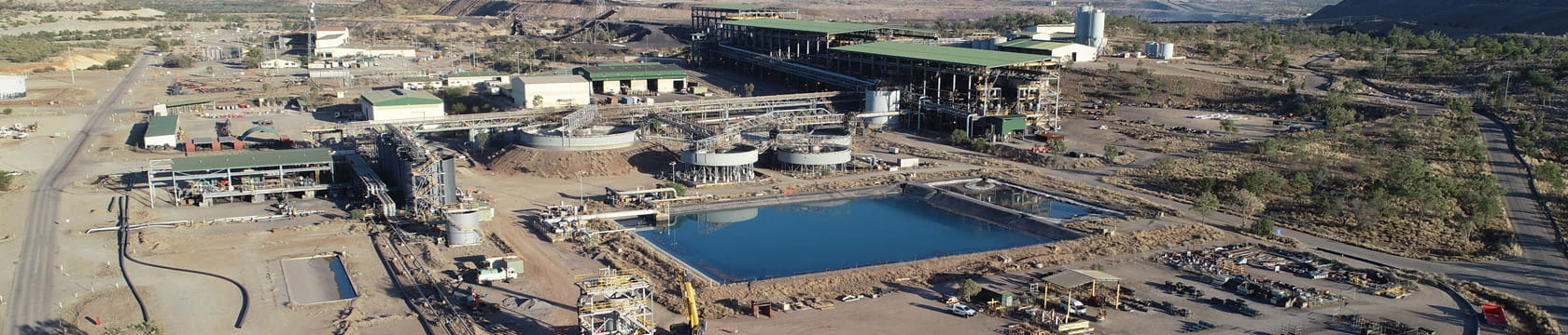 aerial shot of mineral processing infrastructure